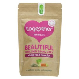 Together Health Together WholeVits Vegan Beautiful Hair Skin & Nails Daily Wholefood Complex 60 Capsules