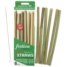 Maistic Maistic Reusable Bamboo Straws & Cleaner 6 pack
