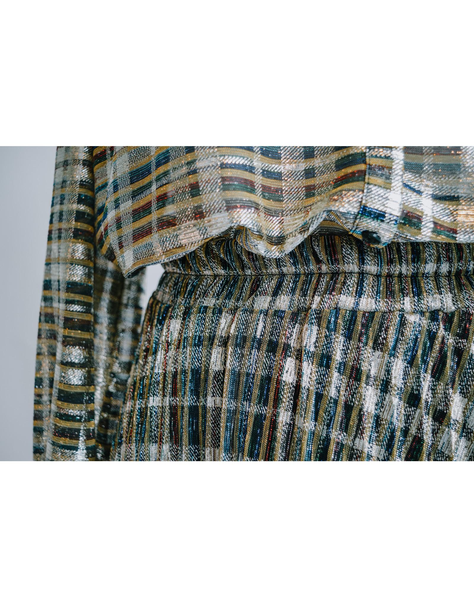 Imprévu jupe plisse lurex  goud met kleuren