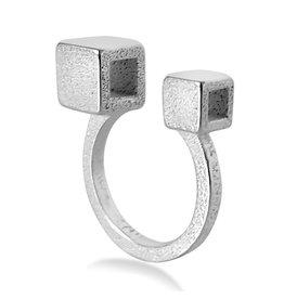 Ola Ring Cube II, Zilver