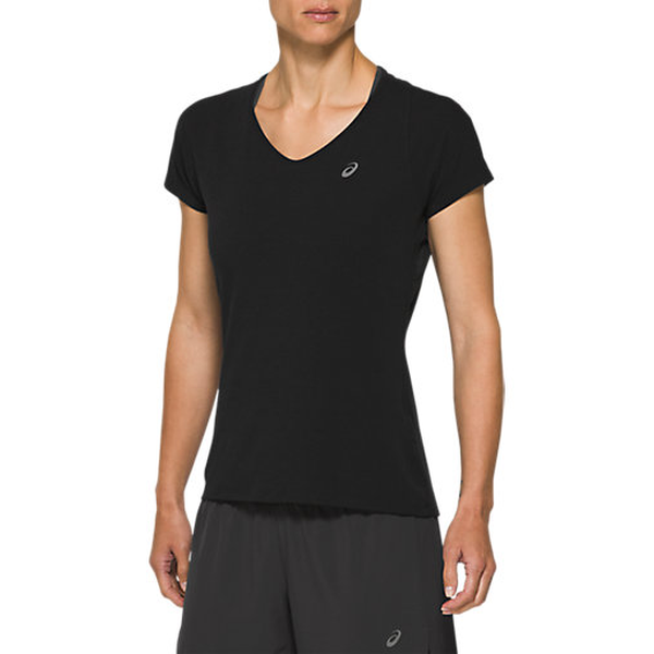 Asics Hardloopshirt V-hals Dames Zwart