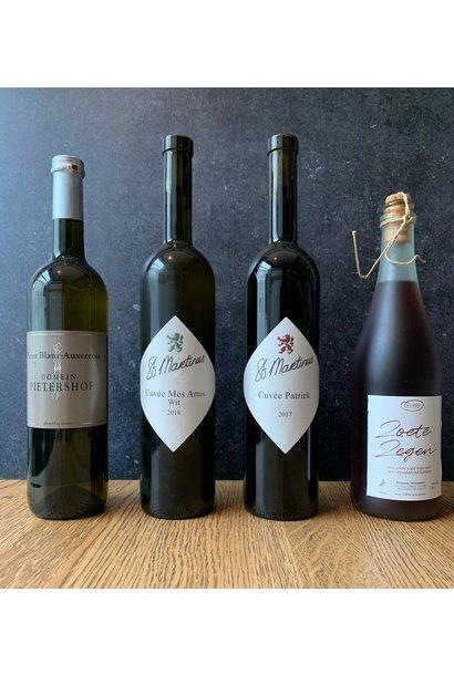 4 flessen Limburgse wijn voor bij het 4 gangen menu