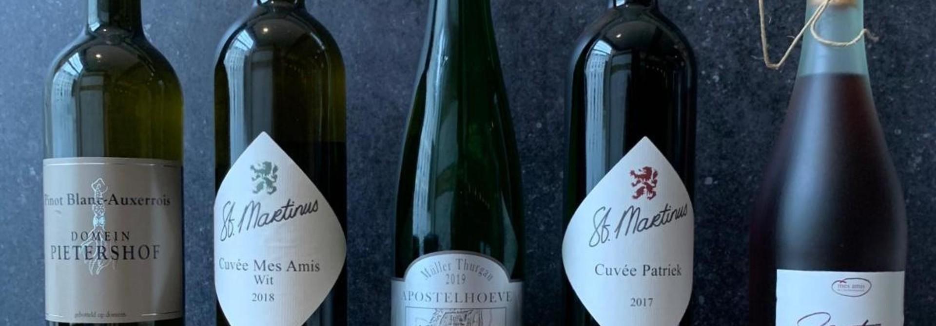 5 flessen Limburgse wijn voor bij het 5 gangenmenu