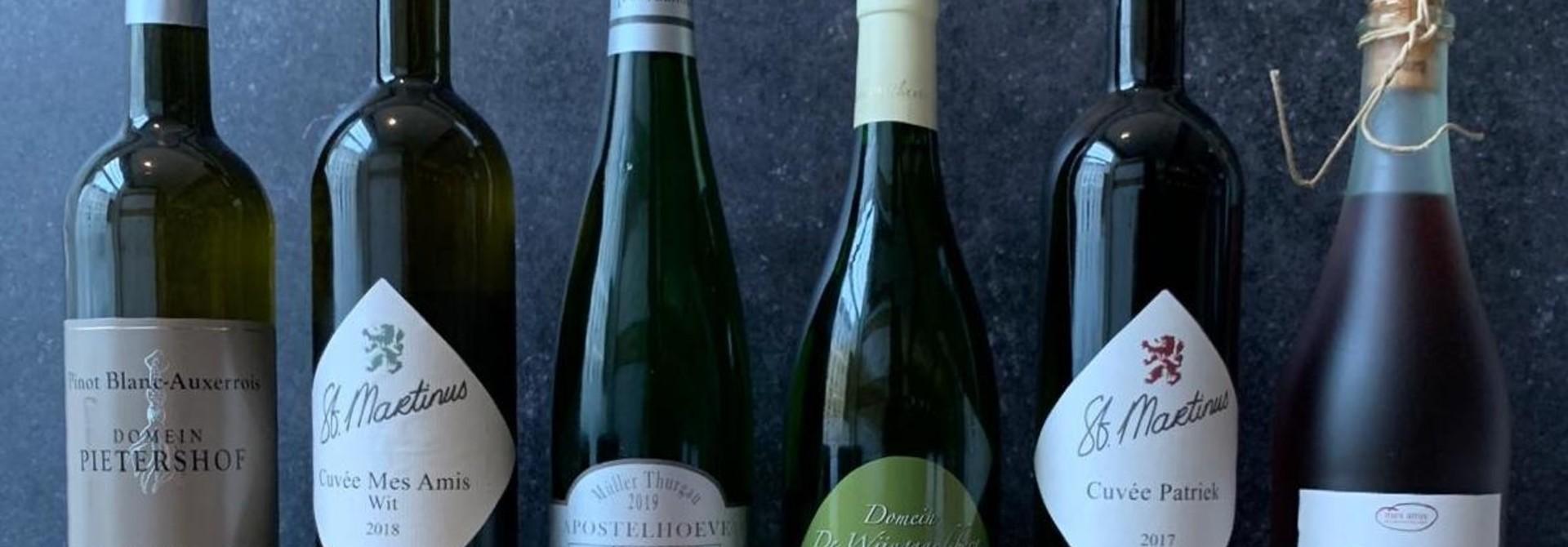 6 flessen Limburgse wijn voor bij het 6 gangenmenu