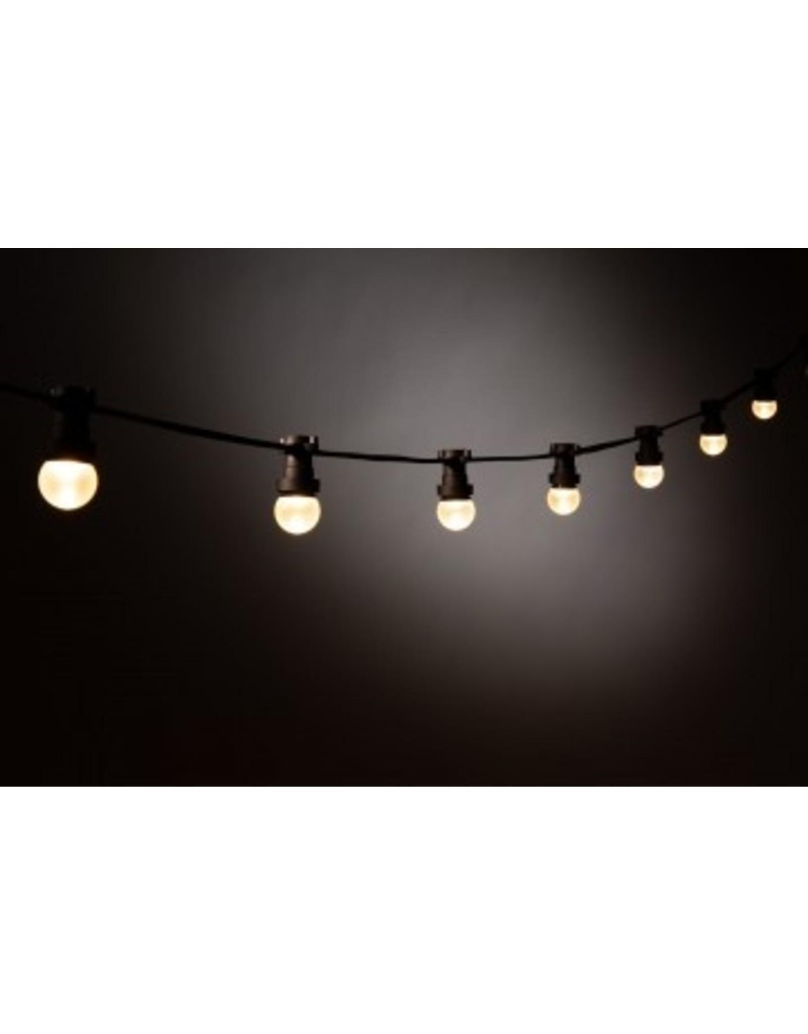 Lights guirlande Lichtslinger outdoor, 15m met 30 fittingen, zwarte kabel + startkabel