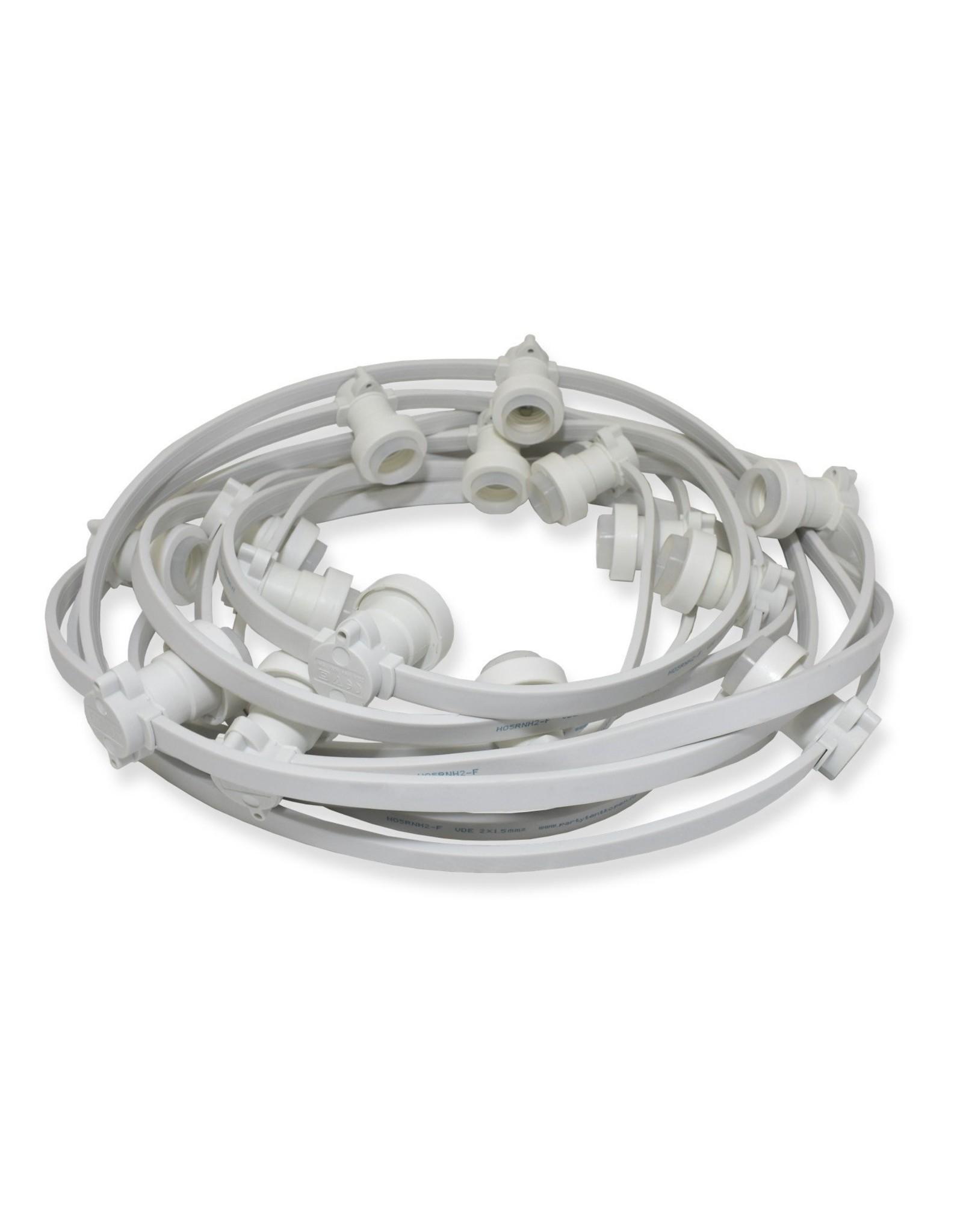 Lights guirlande Lichtslinger outdoor, 10m met 20 fittingen, witte kabel + startkabel