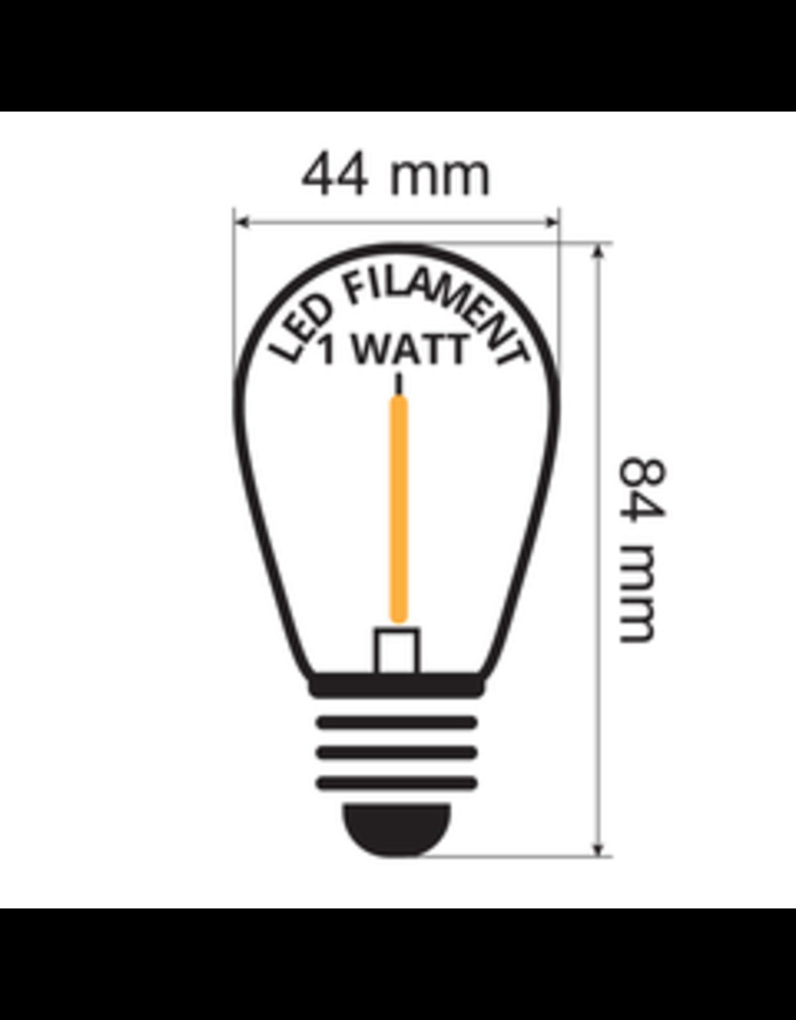 Lights guirlande Warm witte filament lampen - 1 Watt 2200K (kaarslicht)