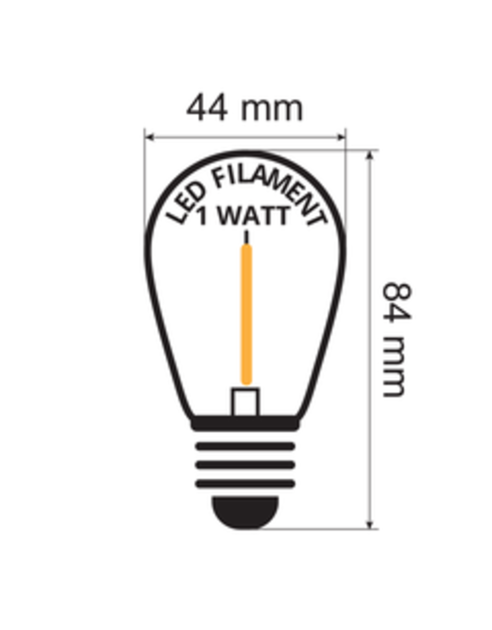 Lights guirlande Warm witte filament lampen - 3,5 Watt 2650K (gloeilamp)