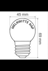 Lights guirlande Warm witte LED lampen met melkkap - 2 watt, 2650K (gloeilamp), dimbaar