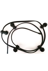 Lights Lichtslinger black flatcable with french plug, 50m and 50 sockets e27 mounted, with