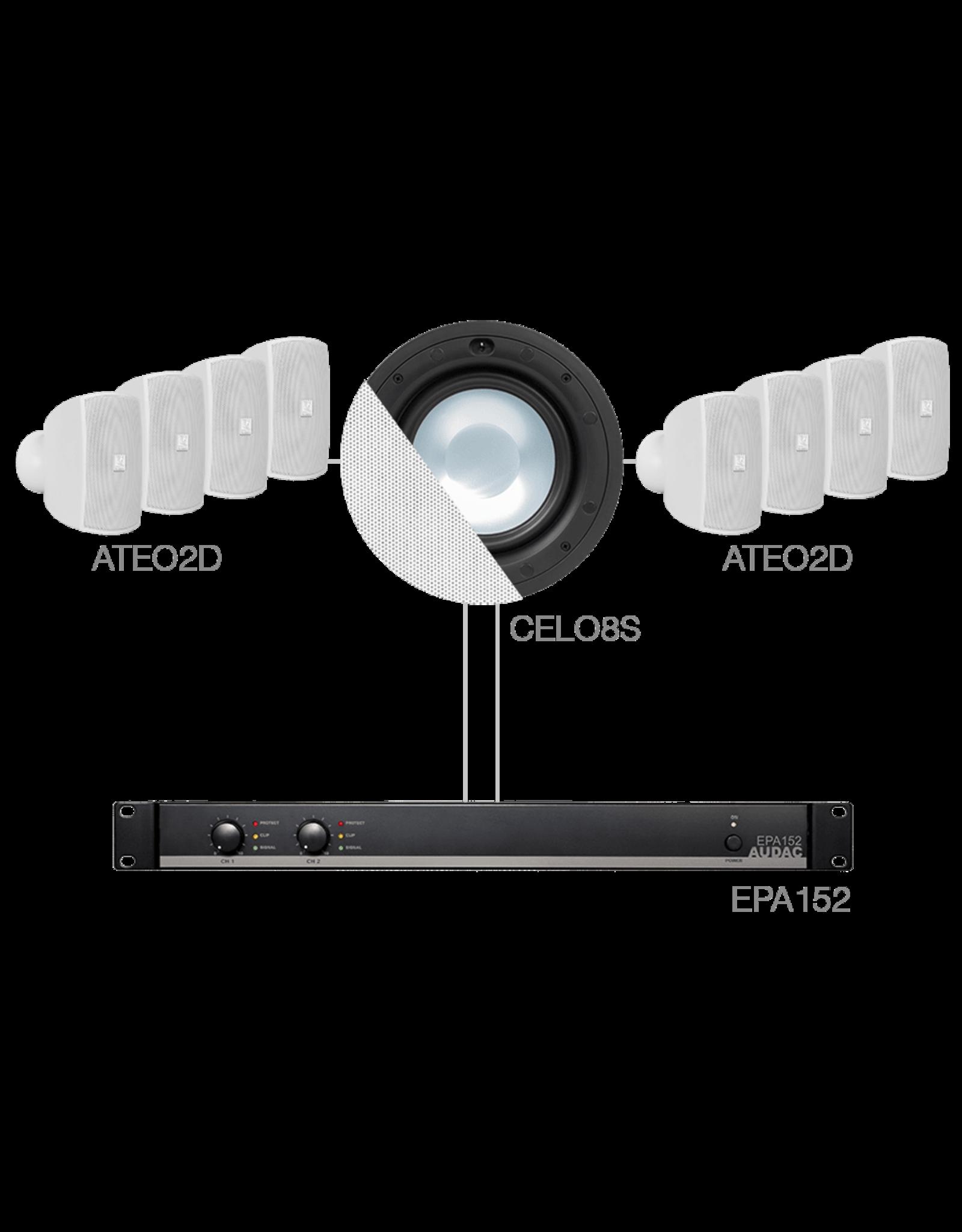 Audac 8 x ATEO2D + CELO8S + EPA152 White
