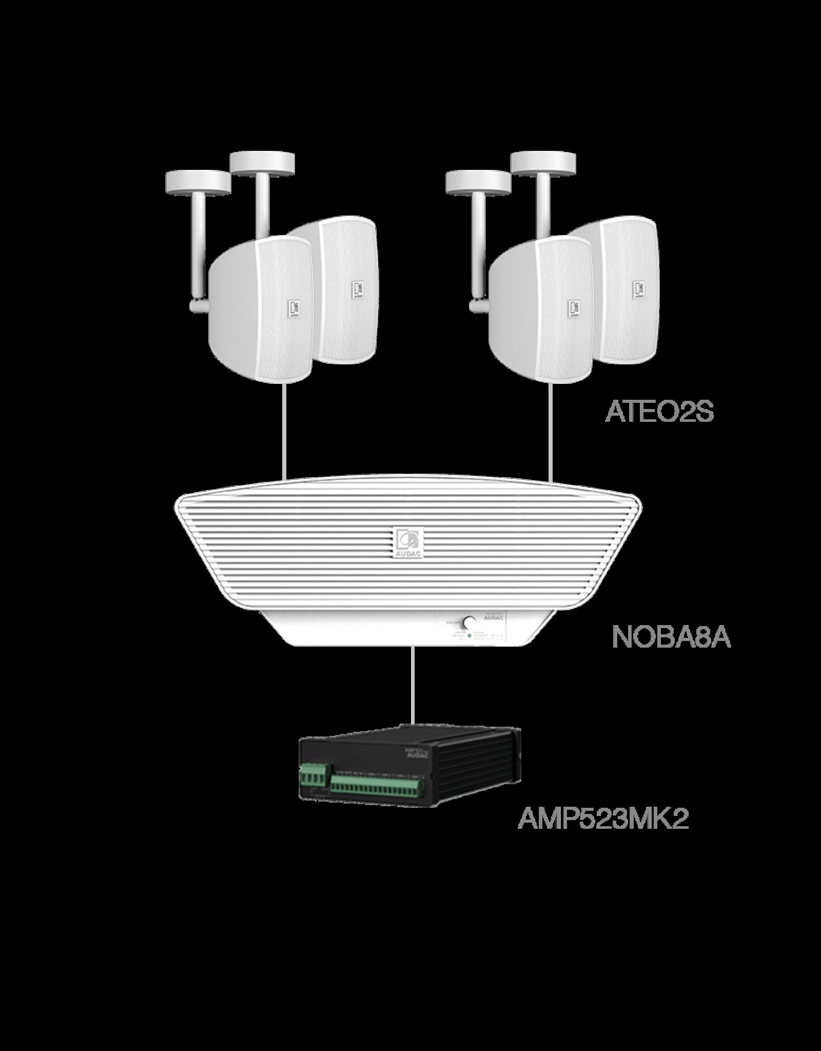 Audac 4x ATEO2S + NOBA8A + AMP523MK2 White
