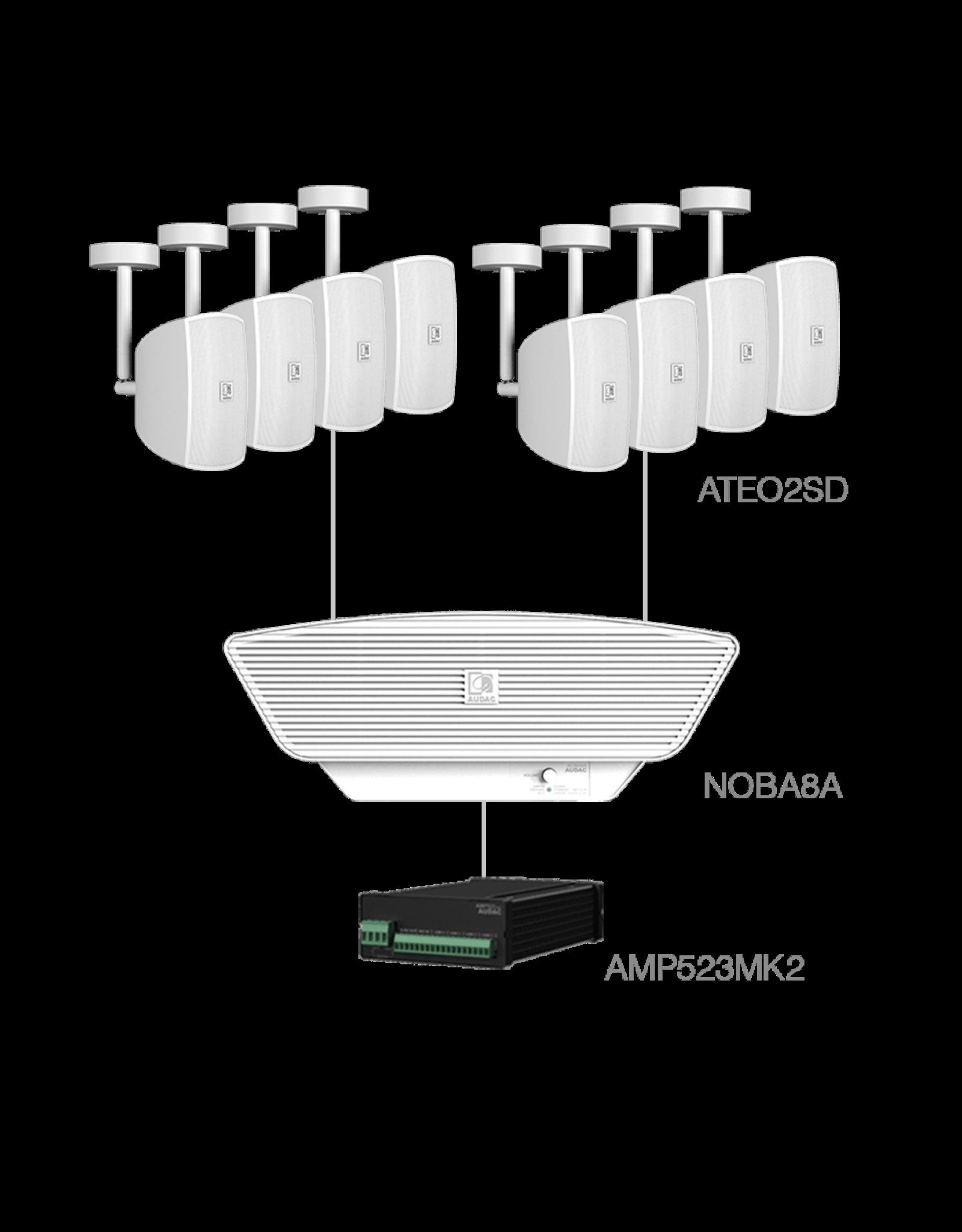 Audac 8x ATEO2SD + NOBA8A + AMP523MK2 White