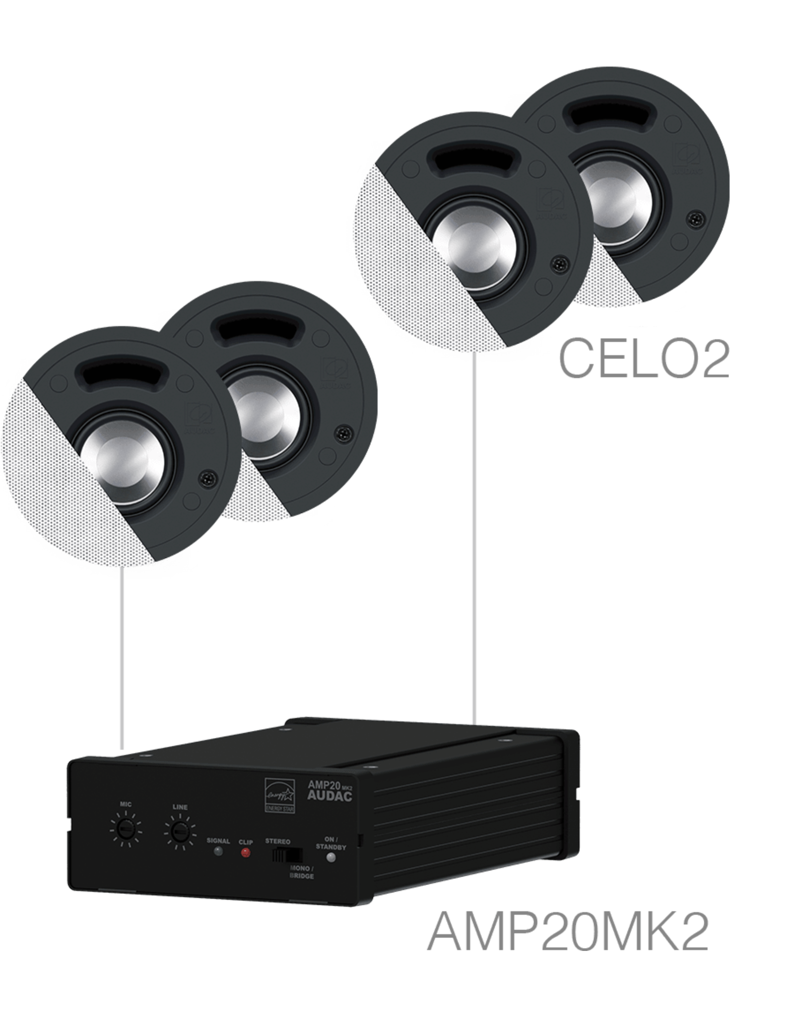 Audac 4 x CELO2 + AMP20 White version