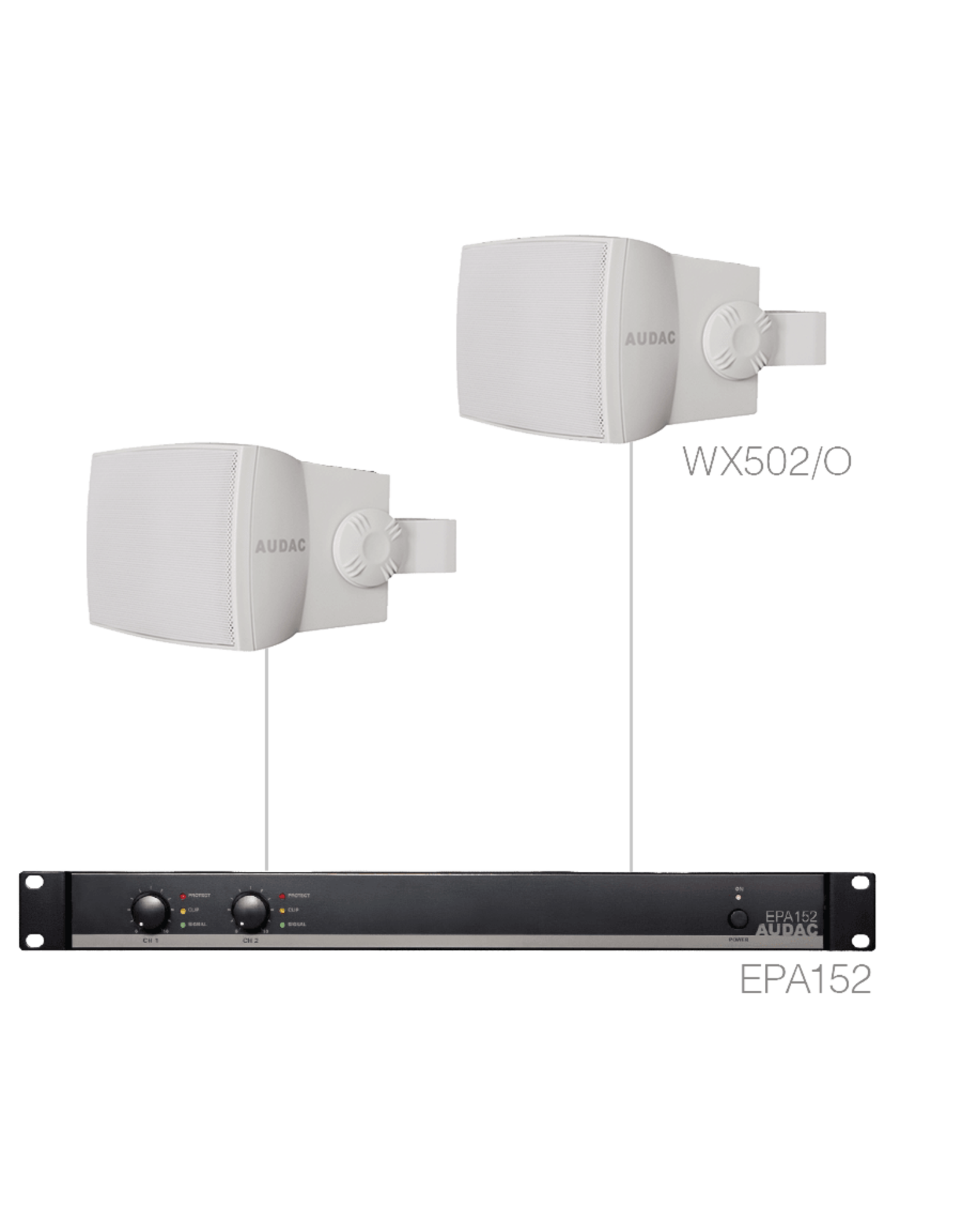 Audac 2 x WX502MK2/O + EPA152 White