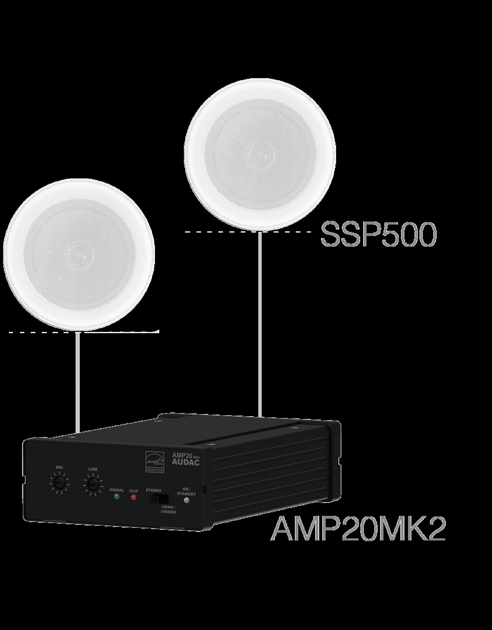 Audac 2 x SSP500 + AMP20 Humid proof background set 2 x SSP500 + AMP20MK2 - white