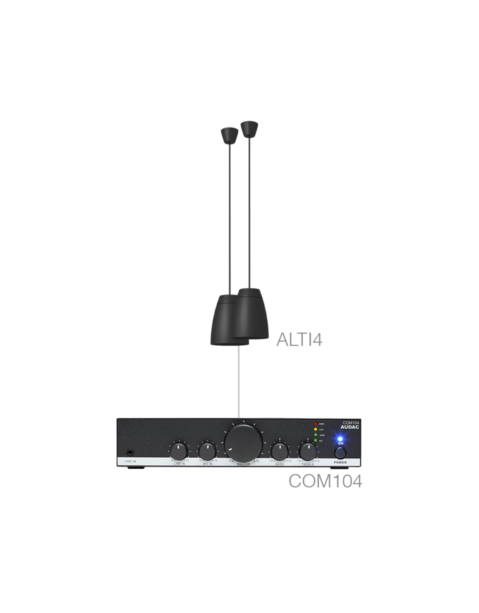Audac 2 x ALTI4/W + COM104 Black