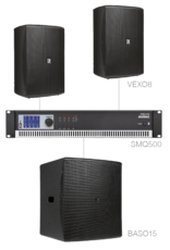 Audac 2 x VEXO8 + BASO15 + SMQ500 Black version