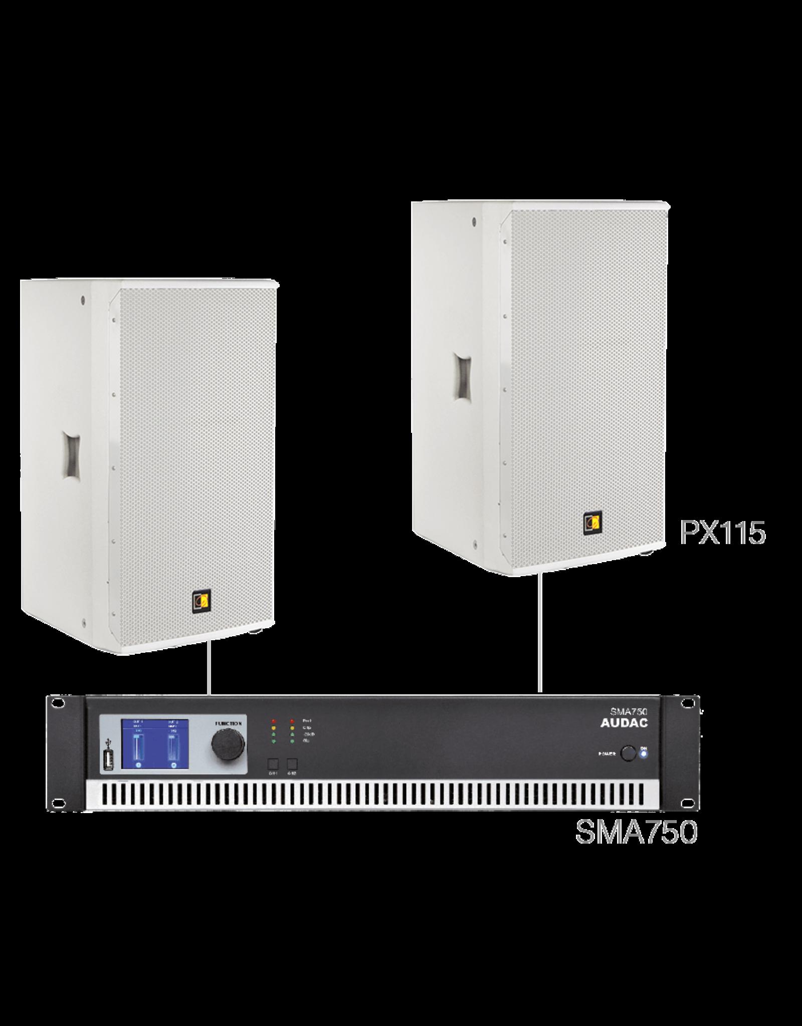 Audac 2 x PX115 + SMA750 White version