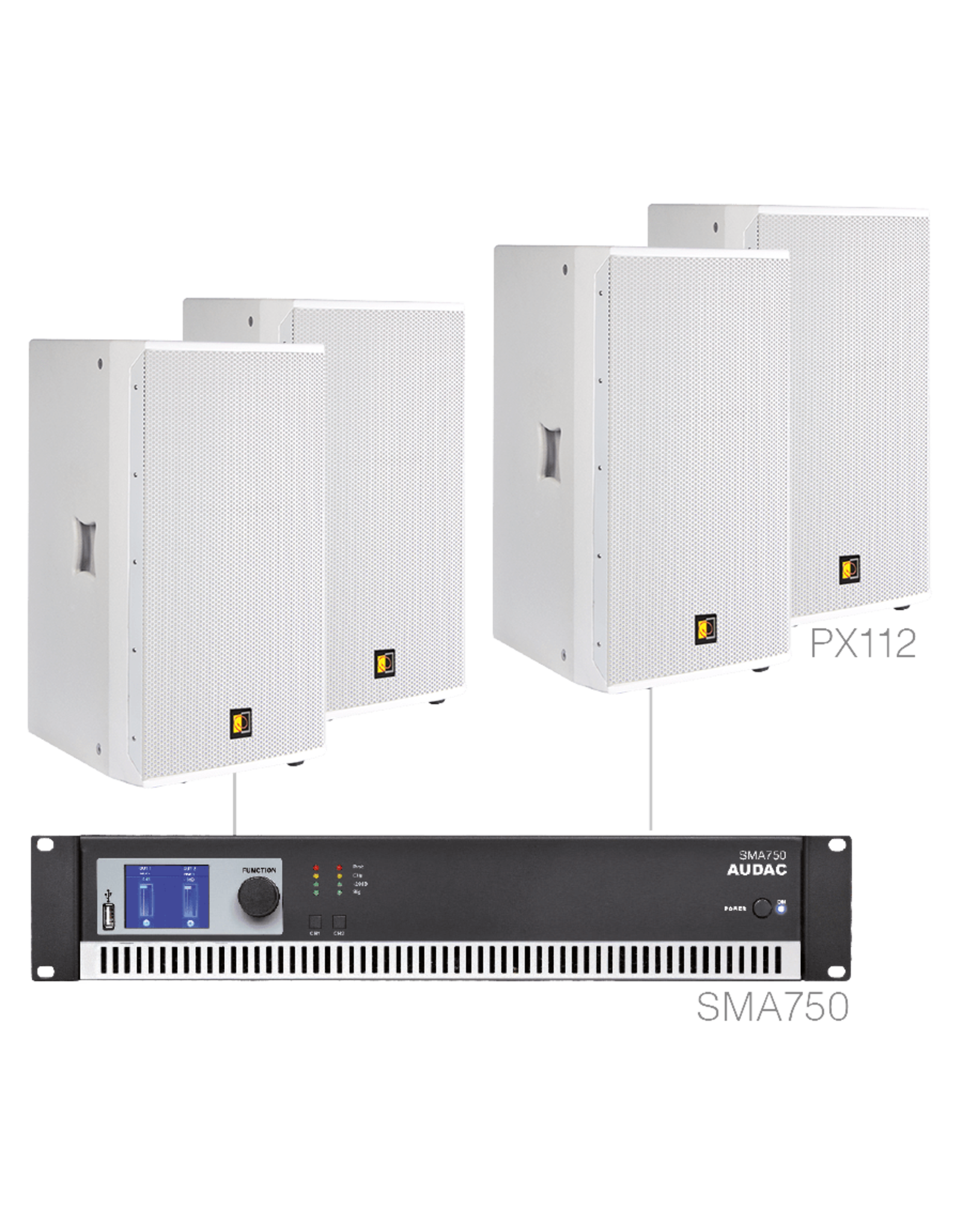 Audac 4 x PX112 + SMA750 White version