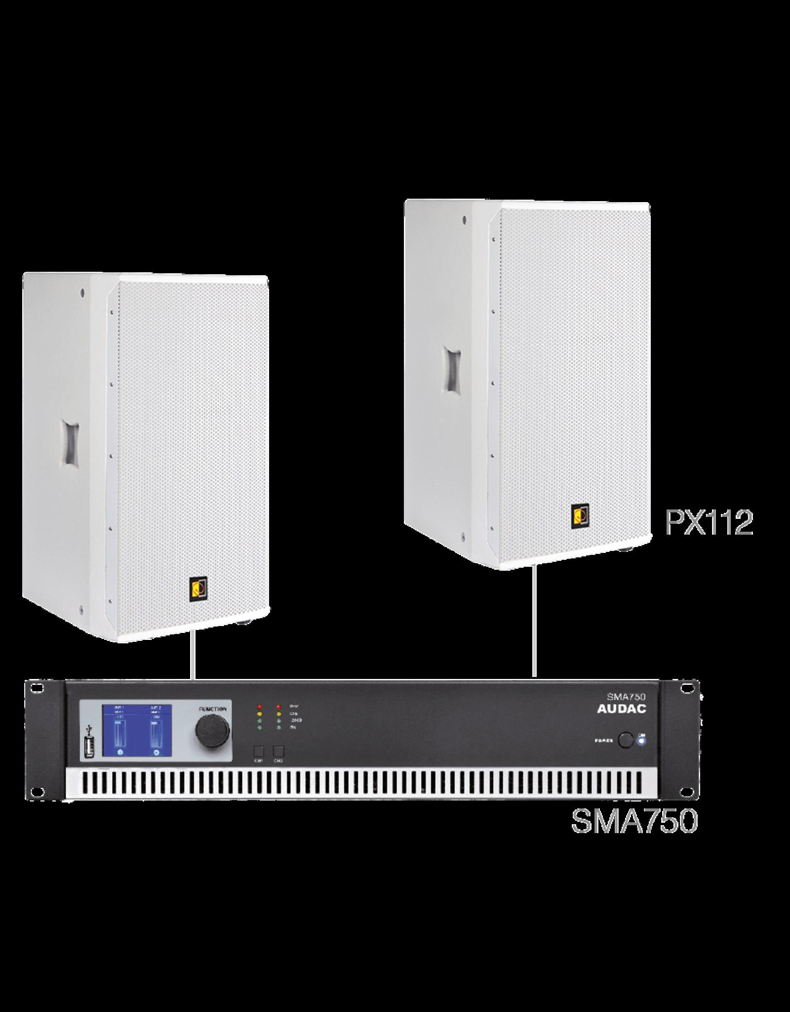 Audac 2 x PX112 + SMA750 White version