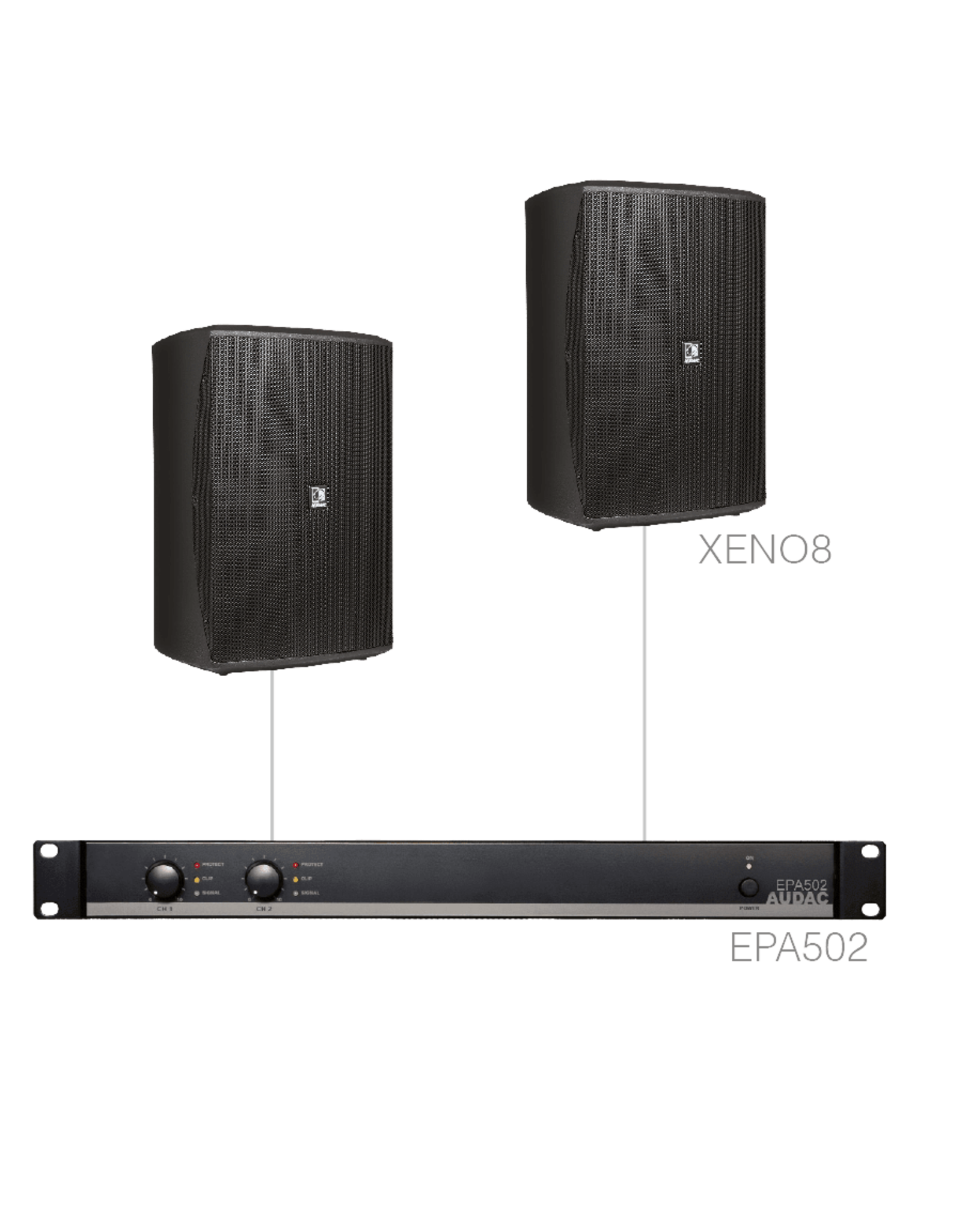 Audac 2 x XENO8 + EPA502 Black