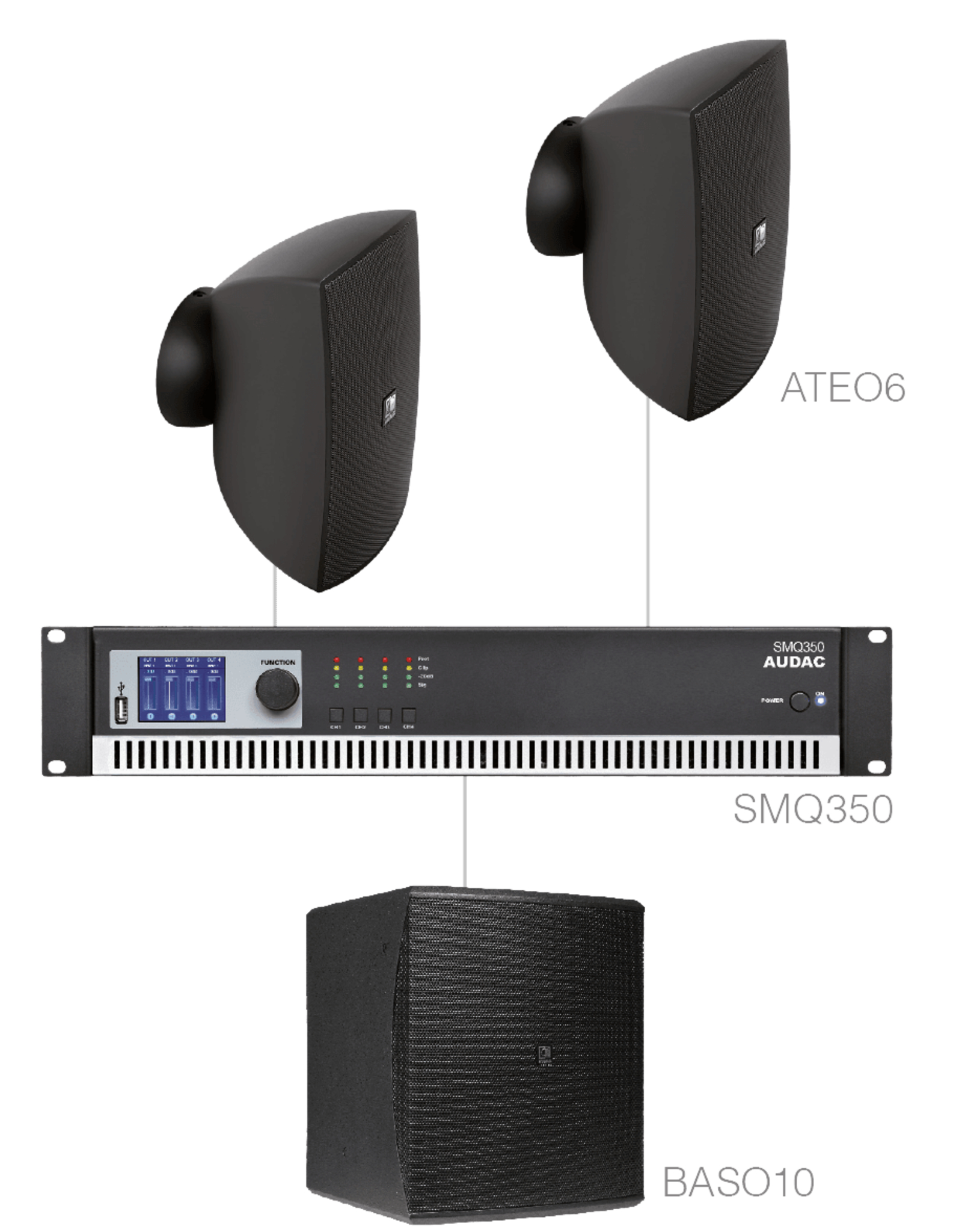Audac 2 x ATEO6 + BASO10 + SMQ350 Black version