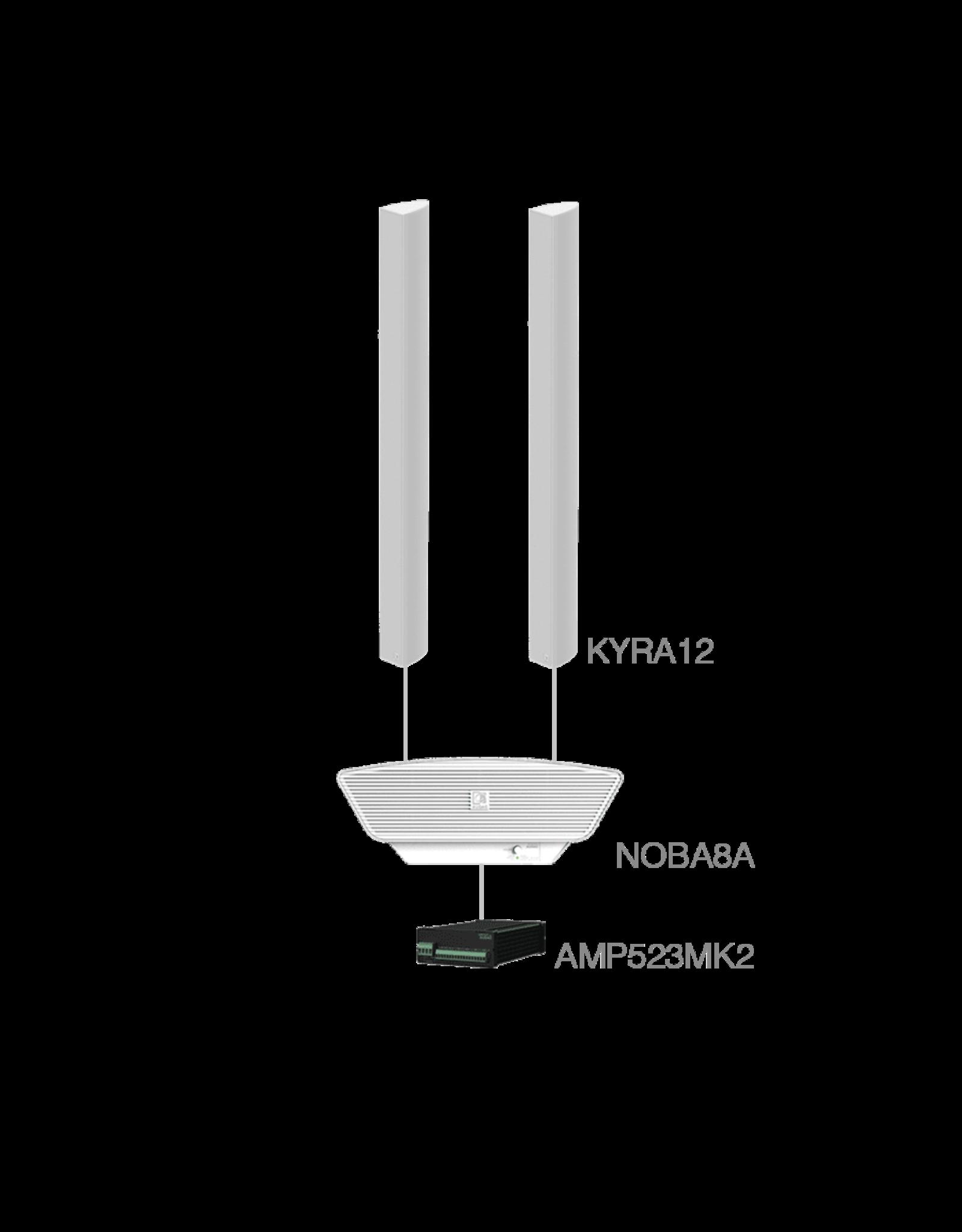 Audac 2 x KYRA12 + NOBA8A + AMP523MK2 White