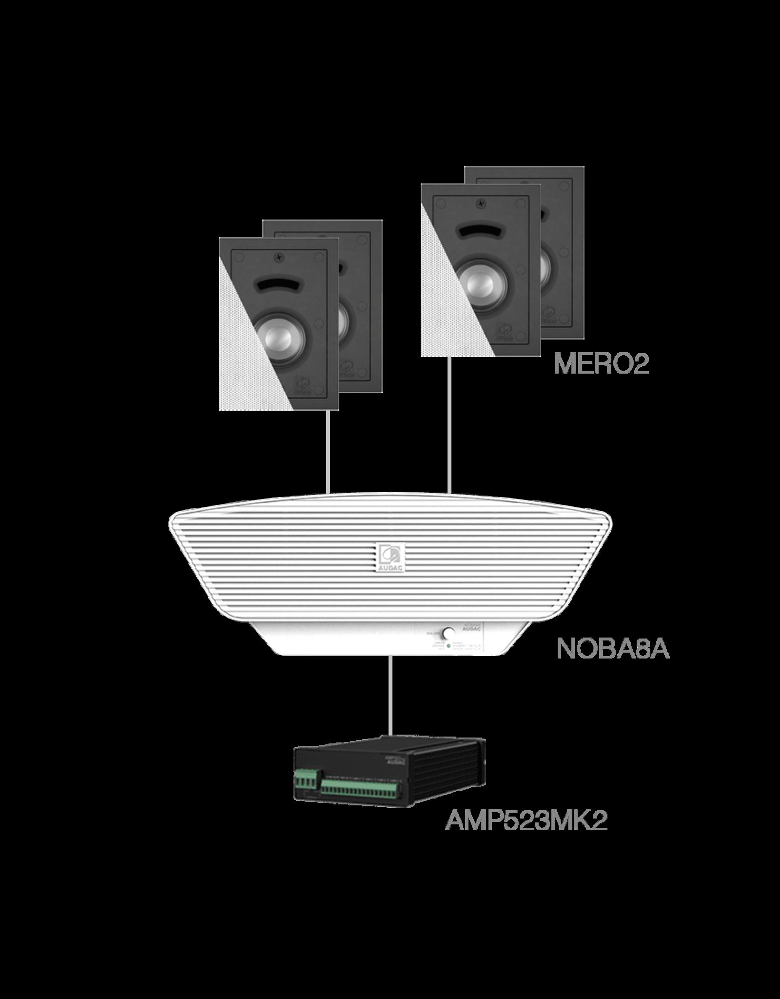 Audac 4x MERO2 + NOBA8A + AMP523MK2 White
