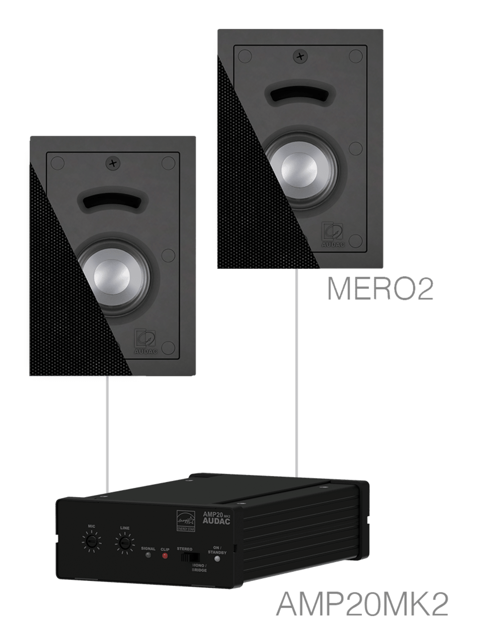 Audac 2 x MERO2 + AMP20MK2 Black version
