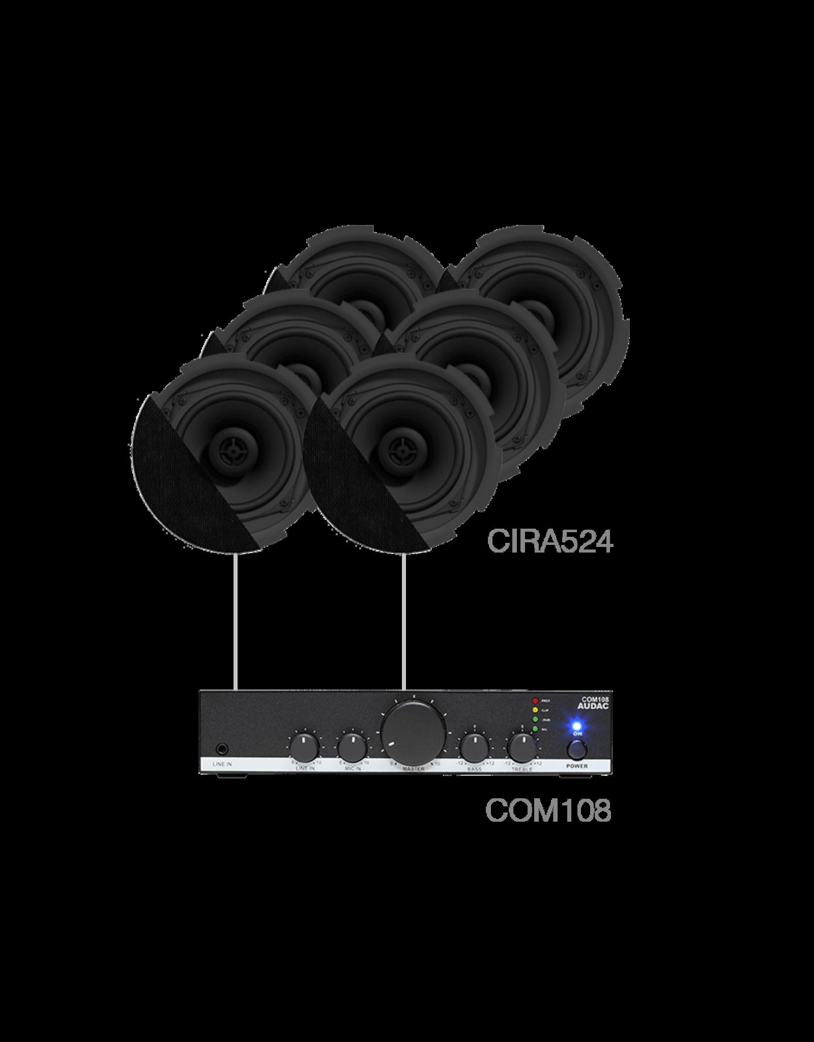 Audac 6 x CIRA524 + COM108 Black version