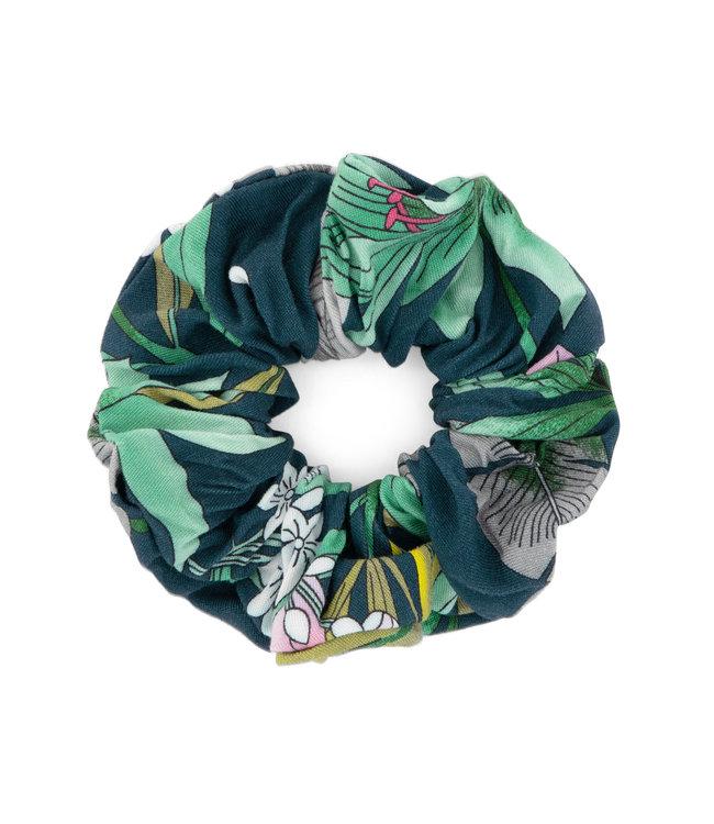 MAYCE Girlslabel Meisjes scrunchie - Blauw bloemen AOP