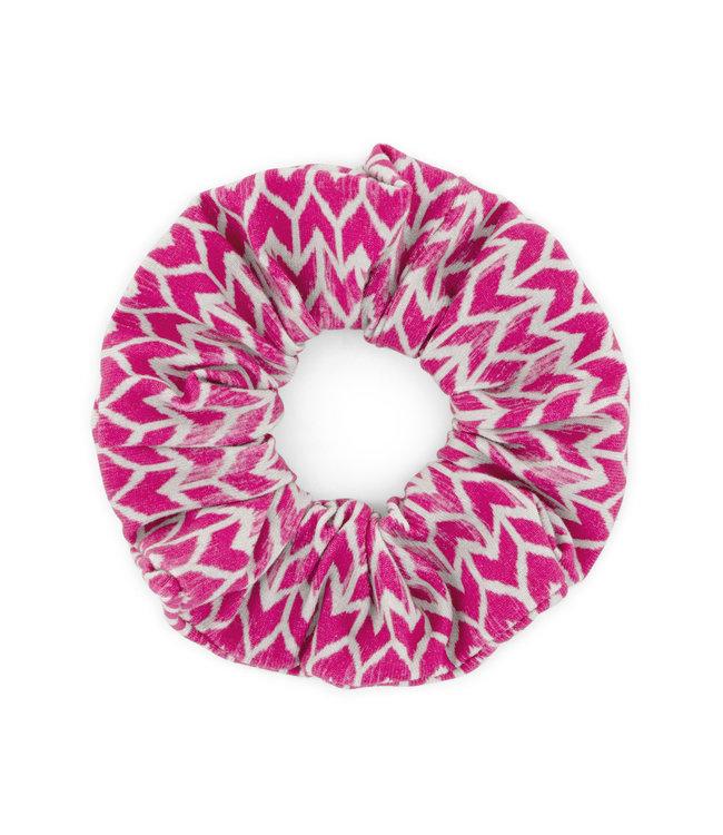 MAYCE Girlslabel Meisjes scrunchie - Donker roze AOP