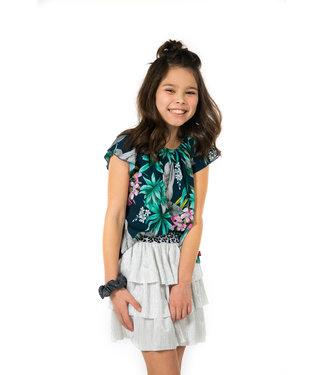 MAYCE Girlslabel Meisjes blouse - Blauw bloemen AOP