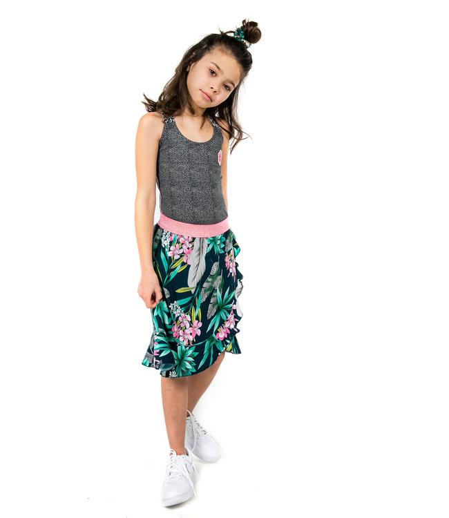 MAYCE Girlslabel Meisjes rok - Blauw bloemen AOP