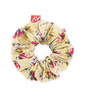 MAYCE Girlslabel Meisjes scrunchie - Geel bloemen AOP