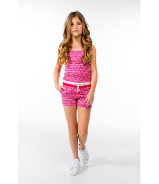 MAYCE Girlslabel Meisjes jumpsuit - Donker roze AOP