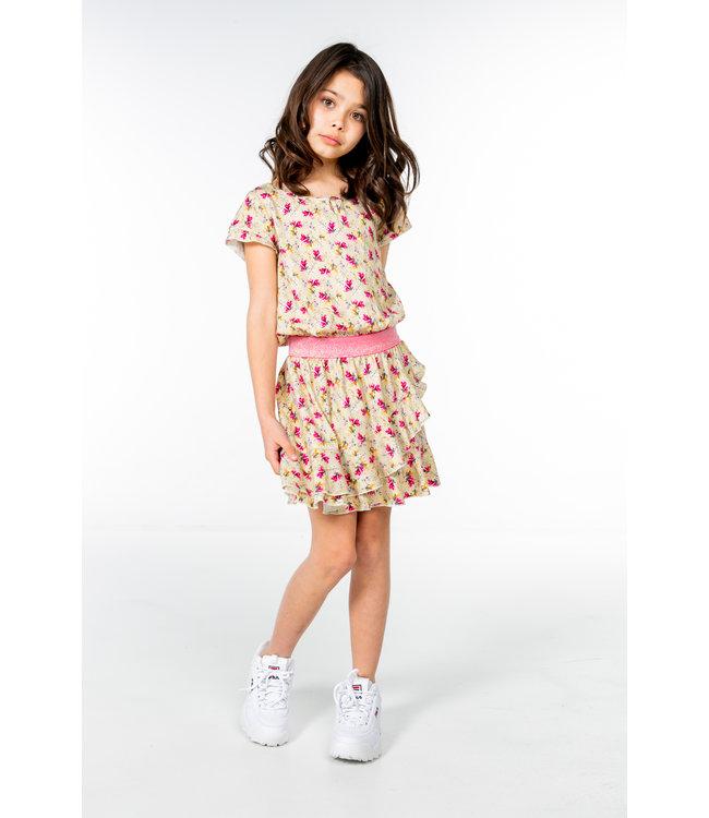 MAYCE Girlslabel Meisjes jurk - Geel bloemen AOP