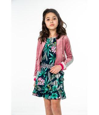 MAYCE Girlslabel Meisjes jurk - Blauw bloemen AOP