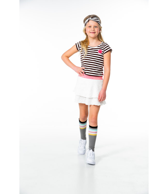 MAYCE Girlslabel Meisjes jurk - Bruin gestreept