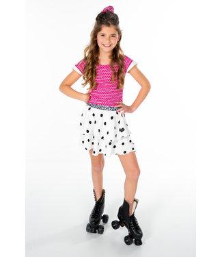 MAYCE Girlslabel Meisjes t-shirt - Donker roze AOP
