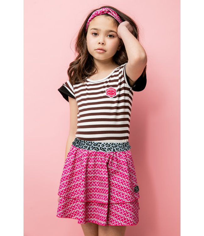 MAYCE Girlslabel Meisjes t-shirt - Bruin gestreept