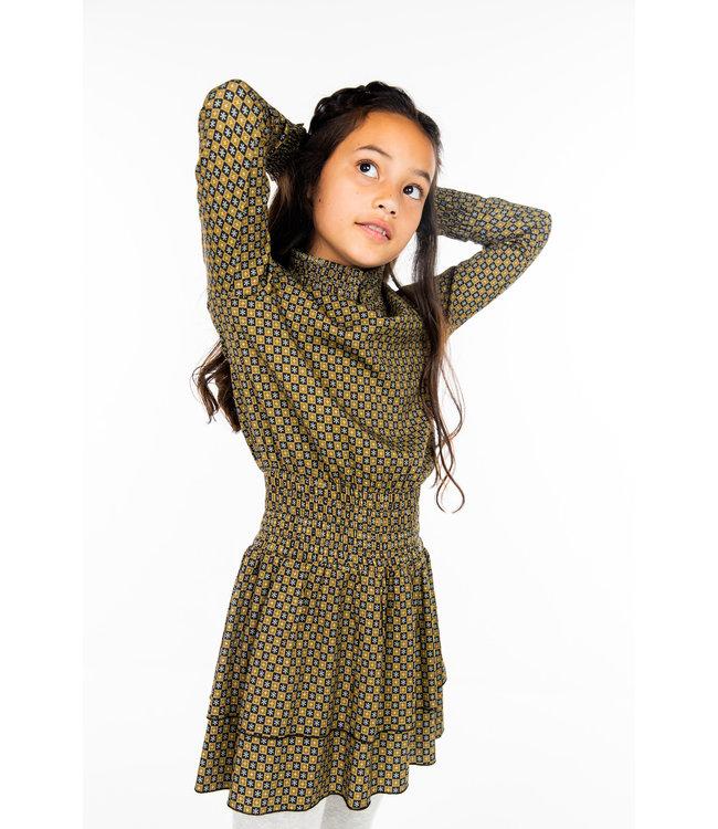 MAYCE Girlslabel Meisjes jurk - Figures bruin