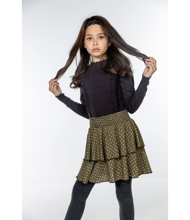 MAYCE Girlslabel Meisjes rok - Figures bruin