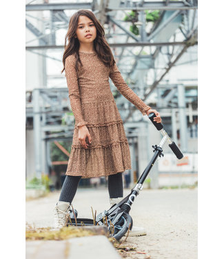 MAYCE Girlslabel Meisjes jurk lang - Bruin stippen