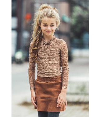 MAYCE Girlslabel Meisjes shirt - Bruin stippen