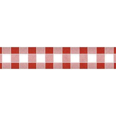 Papieren Tafelkleed Damast Ruit Rood - 10 Meter