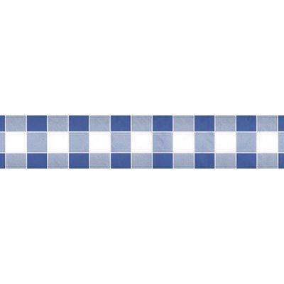 Papieren Tafelkleed Damast Ruit Blauw - 10 Meter