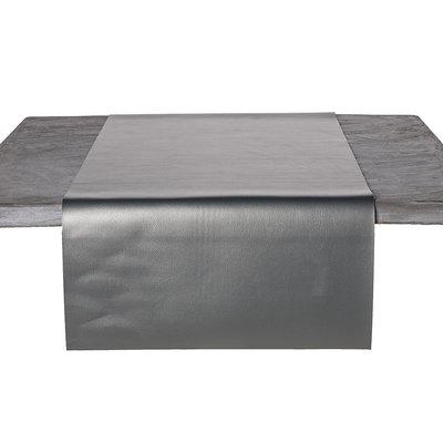Tafelloper Kunstleer Metallic Zilver 45 x 140 CM