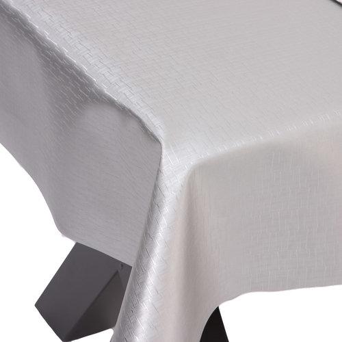 Gecoat Tafelkleed Deluxe Jaspe Zilver